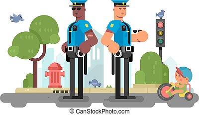 policía, oficial de la patrulla, en, calle de la ciudad