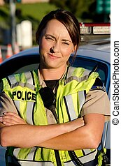 policía, oficial, hembra