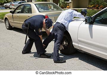 policía, palmadita, abajo