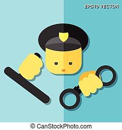 policía, plano, icono