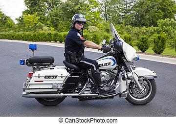 policía, policía, motocicleta