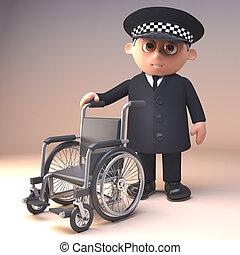 policía, provechoso, ofrecimiento, sílla de ruedas, policía...