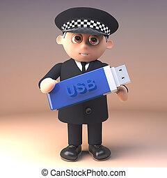 policía, pulgar, policía, unidad, ilustración, proceso de ...
