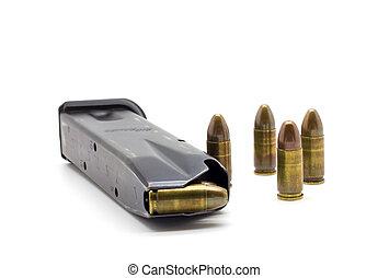 policía, revista, balas, 9 mm