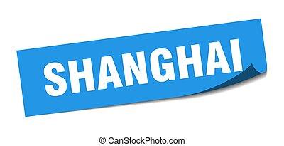 policía, señal, shanghai, azul, sticker., cuadrado