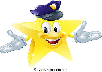 policía, seguridad, estrella, o, hombre