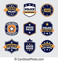 policía, sellos