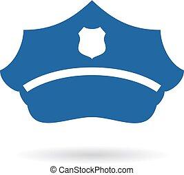 policía, sombrero, icono