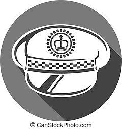 policía, sombrero, plano, icono