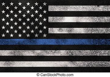 policía, textured, plano de fondo, grunge, apoyo, bandera