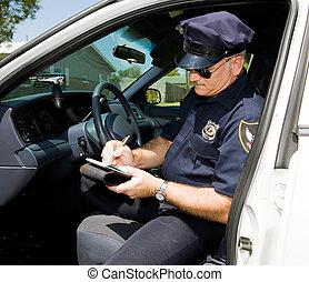 policía, -, tiempo, para, un, boleto