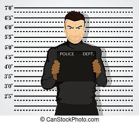 policía, tiro de la taza