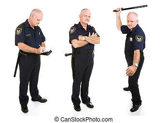 policía, tres vistas, oficial
