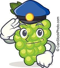 policía, uvas verdes, carácter, caricatura