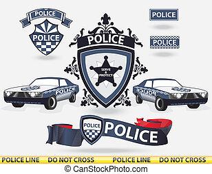 policía, vector, -, elementos
