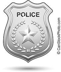 policía, vector, insignia