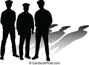 policía, vector, siluetas