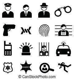 policía, y, crimen, iconos