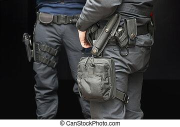 policías, armado