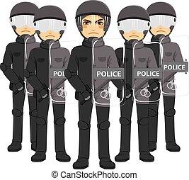 police, émeute, équipe
