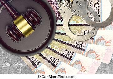 police, 20, rupees, concept, menottes, lankan, marteau, judiciaire, bribery., sri, impôt, desk., ou, factures, juge cour, action éviter, procès
