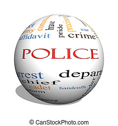 Police 3D sphere Word Cloud Concept with great terms such as...