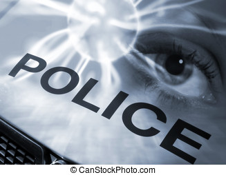 Police abstract - Conceptual image of eye abstract overlaid...