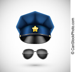Police accessories (hat and glasses). Eps 10