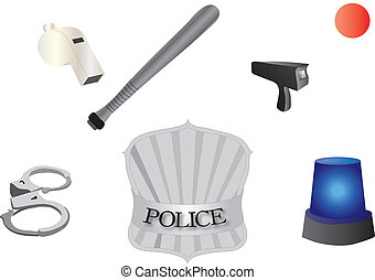 police accessories - vectors illustration 2D shows police...