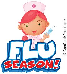 police, aiguille, conception, infirmière, saison, mot, grippe