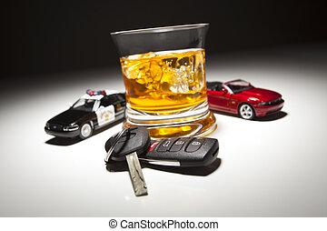 police, alcoolique, clés, voiture, boisson, tache, sports, light., sous, patrouille, suivant, autoroute