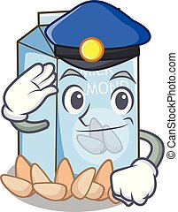 Police almond milk in the character glass
