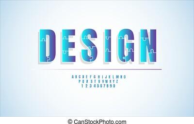 police, alphabet, style, conception, ligne blanche, bleu, puzzle