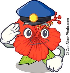 Police ambilcus flower in form cute cartoon
