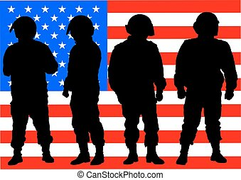 Police and american banner - People of special police force ...