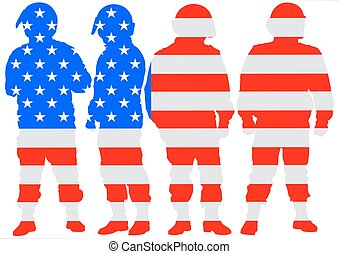 Police and american flag