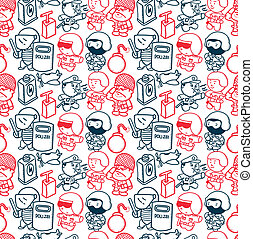 police and army seamless pattern