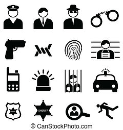 Police and crime icons - Police and crime icon set