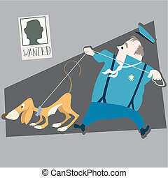 police and dog illustration cartoon
