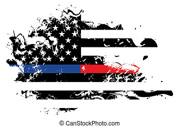 Police and Firefighter Abstract American Flag Illustration