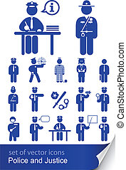 police and justice set of vector icons illustration isolated...