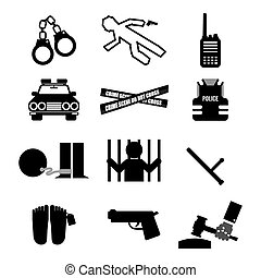 Police And Law Icon Set.
