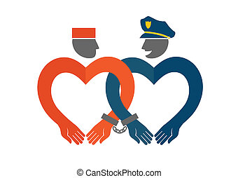 Police and prisoner chained. Humorous illustration of love concept.