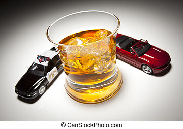 Police and Sports Car Next to Alcoholic Drink