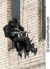police, anti-terrorist, noir, tactique, exercices, pendant