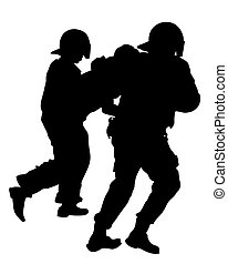 Police officers in protective uniforms arrest protesters. Isolated silhouettes on a white background