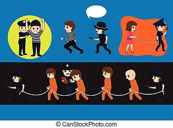 Police Arrested Criminals Vector