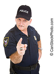 Police Authority - Angry looking police officer pointing his...