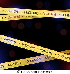 Police background with yellow police tapes. Crime scene.