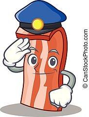 Police bacon character cartoon style